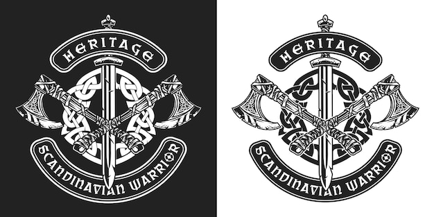 Viking vintage badge with scandinavian warrior crossed battle axes sword and celtic medieval ornament