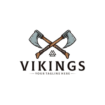 Viking warrior axe logo template