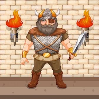 Viking warrior holding sword