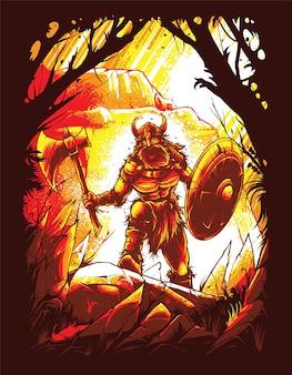 Иллюстрация воина викинга, идеально подходящая для дизайна футболки, одежды или товаров