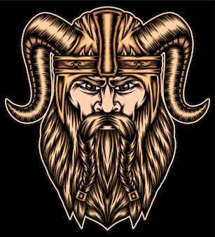 バイキングの戦士のイラスト。