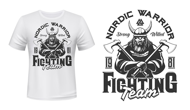 Viking warrior mascot t-shirt print  template. brutal, bearded viking in armor, horned helmet, holding battle axes in hands. sports team or club emblem, apparel custom  print