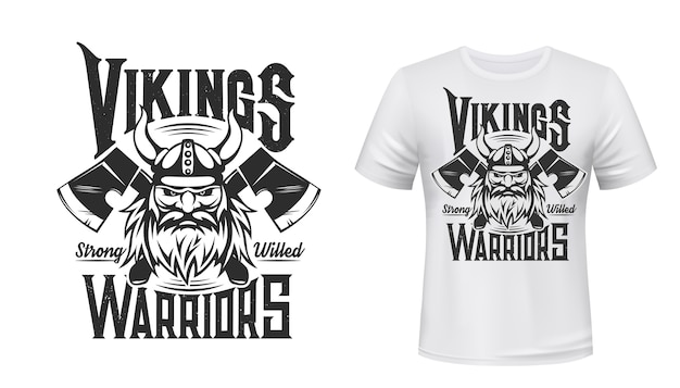 Viking warrior tshirt print, scandinavian nordic medieval knight. man with beard and horned helmet with crossed axes on white appaprel mockup. nordic viking warrior sign, vintage symbol of odin