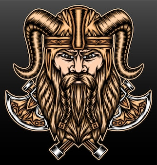 Viking warrior with ax isolated on black