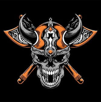 Viking warrior with axe vector illustration