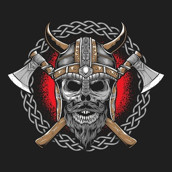 Viking with axe isolated on grey