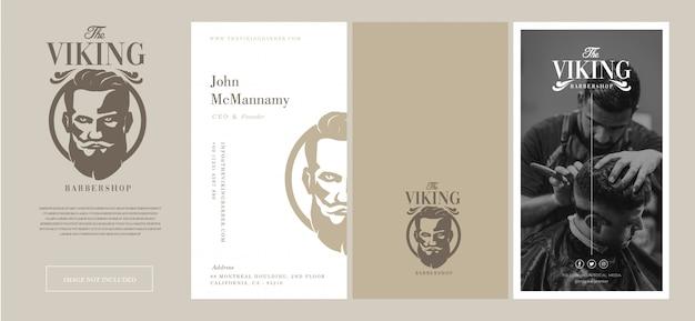 Viking для парикмахерских набор логотипов и шаблонов визиток