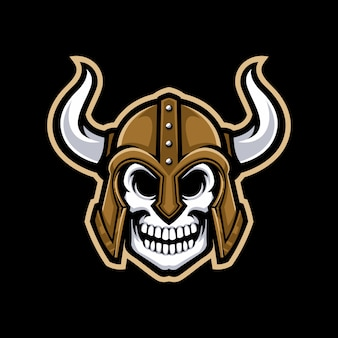 Логотип талисмана черепа viking изолированный