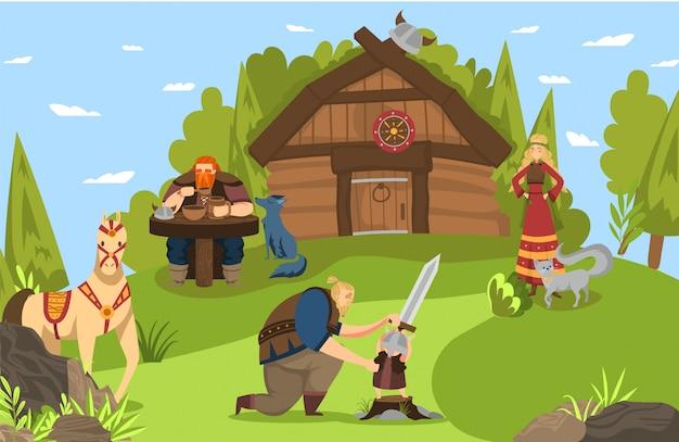 スカンジナビアの歴史神話コミックアートからバイキングとスカンジナビアの戦士の家族と家の漫画イラスト。