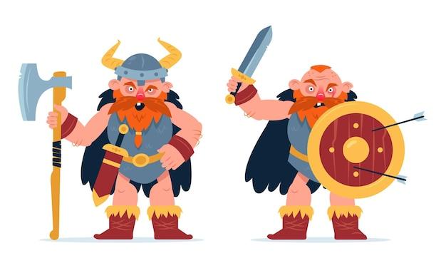 バイキングの漫画のキャラクターセット