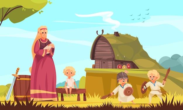Семейная мультяшная композиция викингов с деревянной хижиной. мать с детьми заняты повседневными задачами.