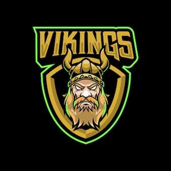 스포츠 또는 e- 스포츠 팀을위한 바이킹 마스코트 로고 디자인 일러스트