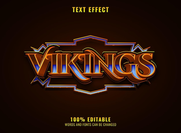 Vikings rpg medieval game logo title editable text effect