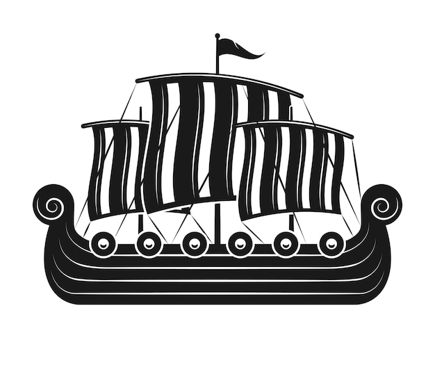 Парусная лодка викингов или скандинавский драккар черно-белый силуэт, изолированных векторная иллюстрация