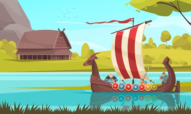 Vikings sailing in traditional wooden longship boat with rectangular sail prow adorned