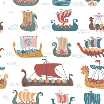 ドラッカー船、幼稚なスカンジナビアフラットイラストとバイキングのシームレスなパターン。
