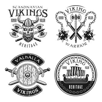 4つのベクトルエンブレム、ラベル、バッジ、ロゴ、または白い背景で隔離のモノクロのビンテージスタイルのtシャツプリントのバイキングセット