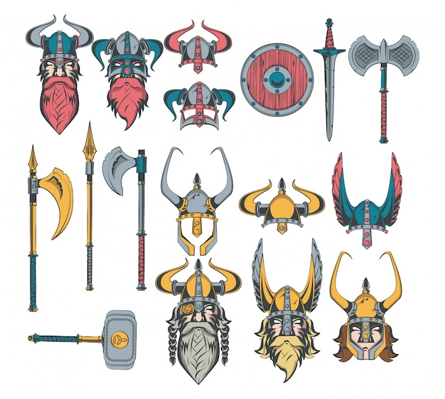 Vikings warriors set of drawings