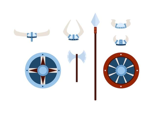 白で隔離のフラットベクトルイラストのバイキングの武器と鎧のセット