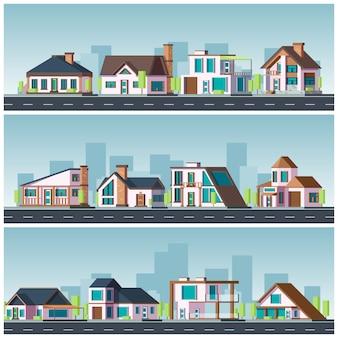 빌라 풍경. 주거 타운 하우스 생활 주택가 도시 그림