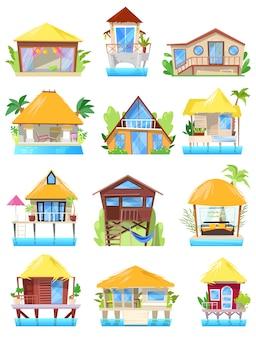 オーシャンビーチまたは白い背景で隔離の村のバンガローのパラダイスイラストセットで家を建てるのファサードのヴィラトロピカルリゾートホテル