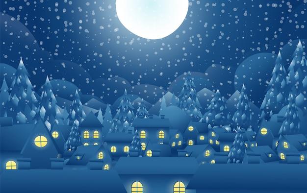 Деревня ночью в рождественский день