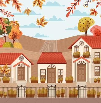 Village in autumn background