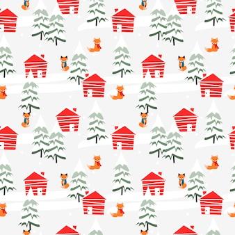 Village in christmas season seamless pattern.