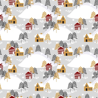 Village in christmas season seamless pattern