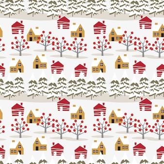 Village in christmas season seamless pattern