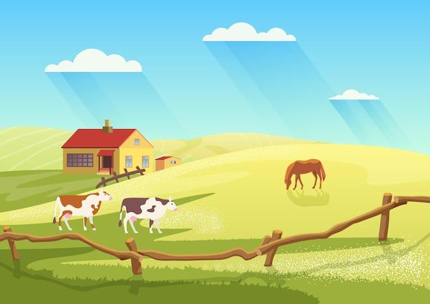 Деревенская молочная ферма с коровами, сельское ранчо, летний пейзаж и фермерский дом