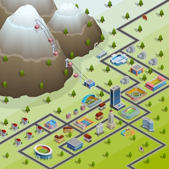 Village facilities isometric layout poster
