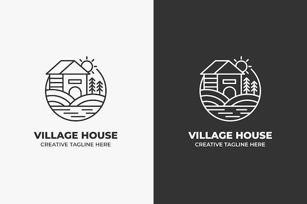 村の農家のモノラインロゴ