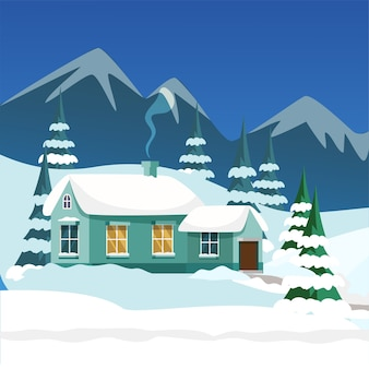 Village house exterior illustration, mountain lodging and pines covered in snow. winter landscape.