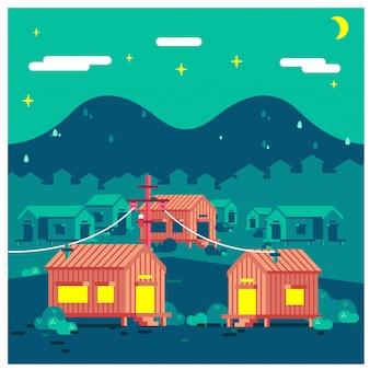 Комплекс деревенских домов ночью с векторной иллюстрацией горы