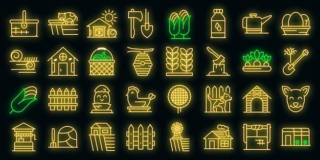 Набор иконок деревни. наброски набор деревенских векторных иконок неонового цвета на черном