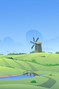 Иллюстрация деревни ветряная мельница стоит в поле