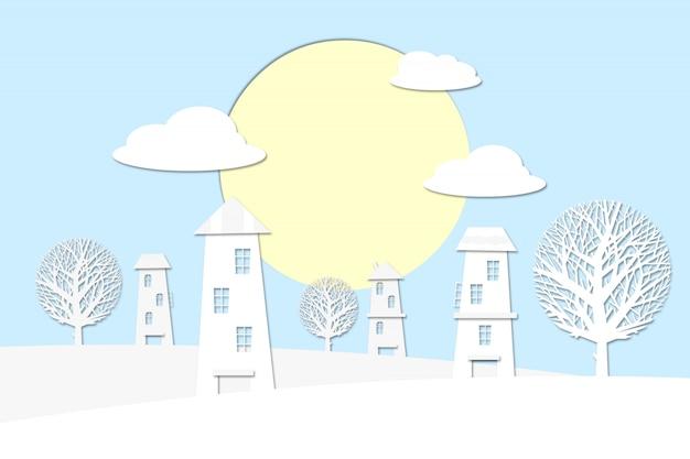 雲の上の太陽が昇る村の風景。