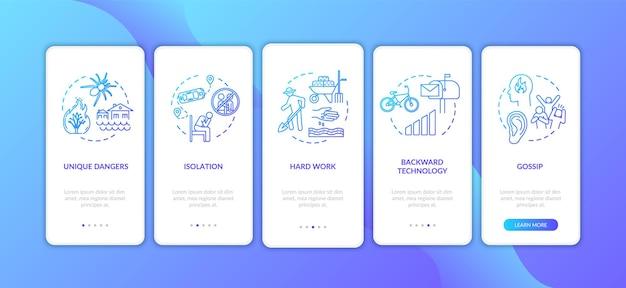 村のライフスタイルの困難なオンボーディングモバイルアプリのページ画面とコンセプト。田舎のウォークスルーの生活条件5ステップのグラフィックの指示。 rgbカラーイラスト付きのuiベクトルテンプレート