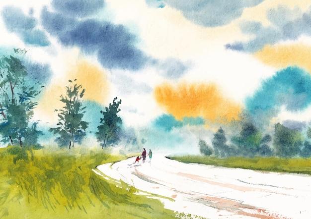 Деревенская дорога и утренний свет акварель