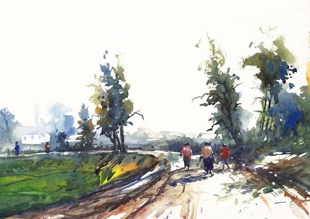 Деревенская дорога и природа пейзажная живопись акварелью