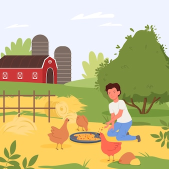Village rural landscape vector illustration child character helping to feed chickens in barnyard