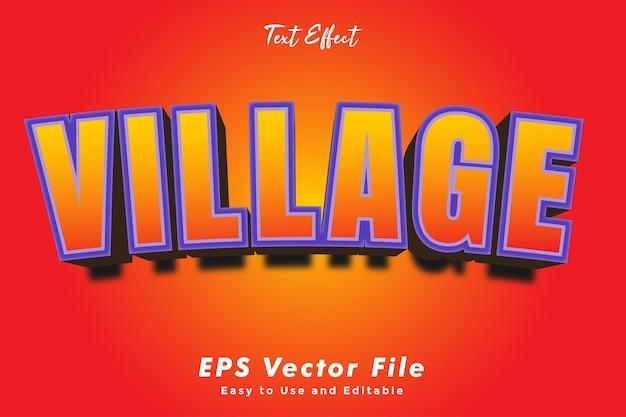 Текстовый эффект деревни. редактируемый и простой в использовании. эффект типографики