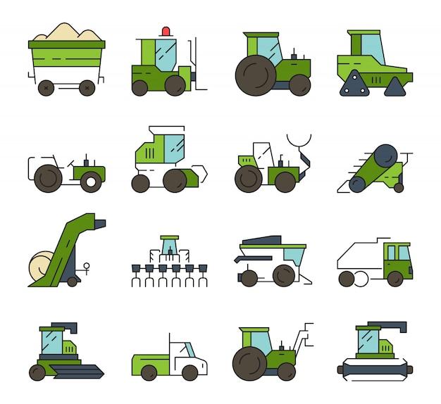 Village transport. farm machines and technique heavy digger loader bulldozer harvester tractor  automotive equipment