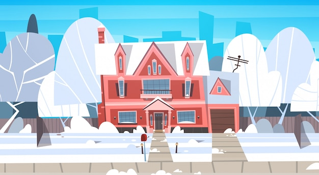 Village winter landscape house building with snow on top city or town suburb street