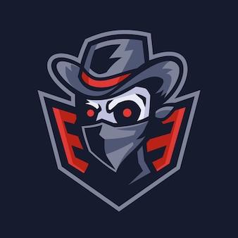 Злодей череп бандит талисман дизайн логотипа