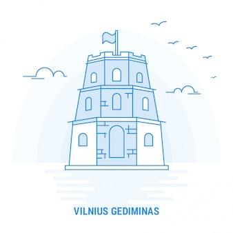 Vilnius gediminas blue landmark