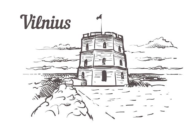 Vilnius, gediminas tower hand drawn
