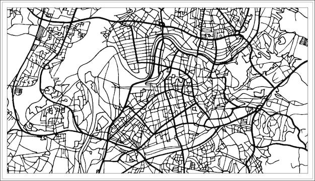 흑백 색상의 빌뉴스 리투아니아 지도. 벡터 일러스트 레이 션. 개요 지도.