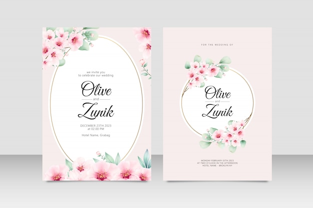 Свадебные приглашения vinatage с цветочной акварелью